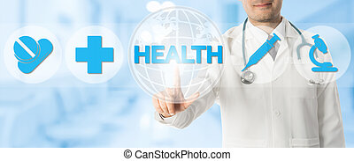 Doctor Points at HEALTH with Medical Icons