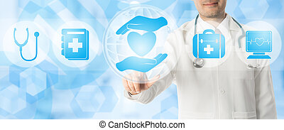 Doctor points at healthcare medical icons.