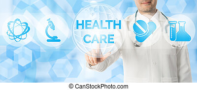 Doctor points at HEALTHCARE with medical icons.