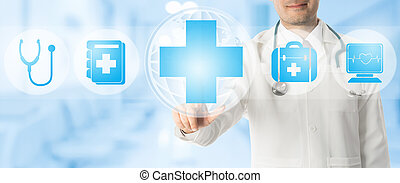 Doctor points at medical cross with medical icons.