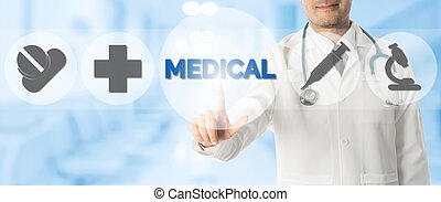 Doctor Points at MEDICAL with Medical Icons