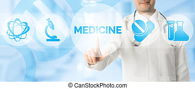 Doctor Points at MEDICINE with Medical Icons