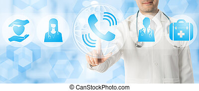 Doctor Points at Phone for Patient Consultancy