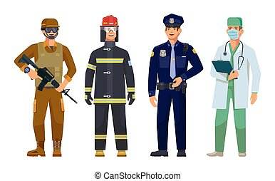 Men professions doctor, policeman, fireman and military guard vector isolated characters. Firefighter in protective uniform, police sheriff, therapist with stethoscope and soldier with shotgun