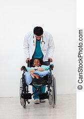 doctor, porción, un, niño enfermo