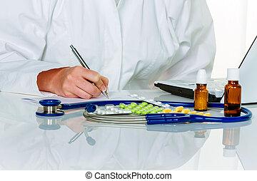 doctor prescribes a drug