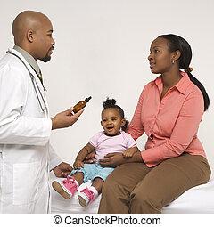Doctor prescribing medicine.