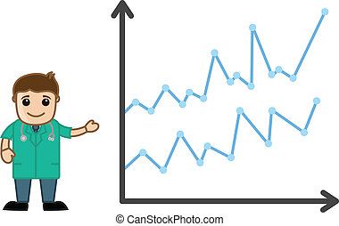 Drawing Art of Cartoon Doctor Character Presenting Medical Stats Report Graph Vector Illustration