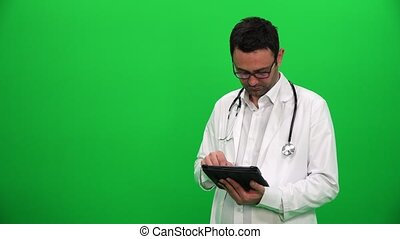 Doctor Presenting With Digital Screen. Right Side.
