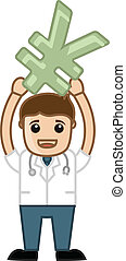 Doctor Presenting Yen Symbol