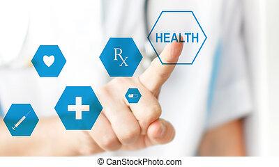 Doctor pressing virtual button on touchscreen. Concept of modern healthcare