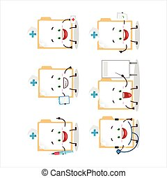 Doctor profession emoticon with brown manila folder cartoon ...