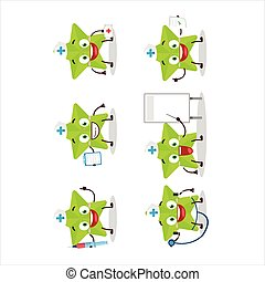 Doctor profession emoticon with new green stars cartoon character.Vector illustration