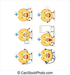 Doctor profession emoticon with savory pie cartoon character...