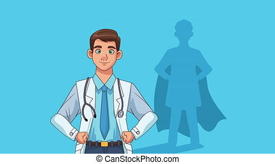 doctor professional with hero shadow character animation , 4k video animated
