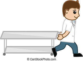 Doctor Pulling Stretcher Vector - Drawing Art of Cartoon...