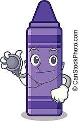Doctor purple crayon above the cartoon book