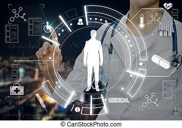 Doctor pushing medical interface
