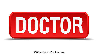 Doctor red 3d square button isolated on white background