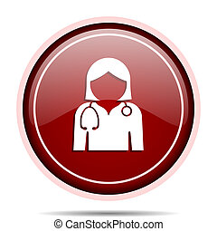 Doctor red glossy round web icon. Circle isolated internet button for webdesign and smartphone applications.