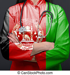 Doctor representing healthcare system with National flag of Afghanistan