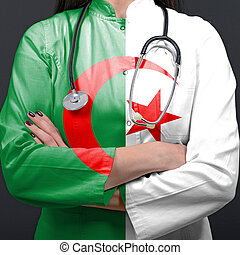 Doctor representing healthcare system with National flag of Algeria
