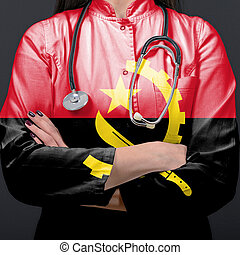 Doctor representing healthcare system with National flag of Angola