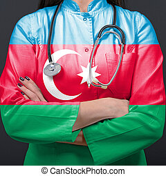 Doctor representing healthcare system with National flag of Azerbaijan