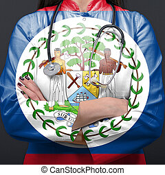 Doctor representing healthcare system with National flag of Belize
