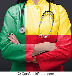 Doctor representing healthcare system with National flag of Benin