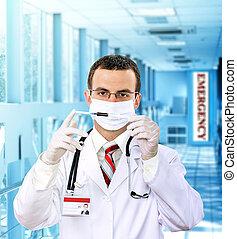 Doctor resarch a medical test syringe with blood.