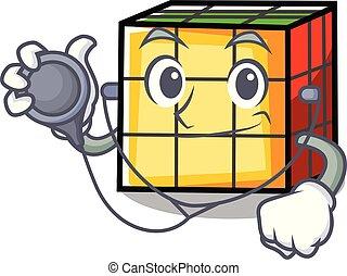Doctor rubik cube character cartoon