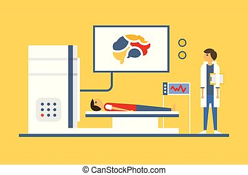 Doctor scanning patient brain, magnetic resonance imaging machine scanning a patient vector illustration in flat style