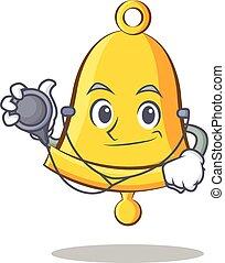 Doctor school bell character cartoon
