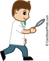 Doctor Searching with Magnifier - Drawing Art of of Cartoon...