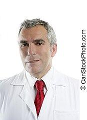 doctor senior expertise gray hair on white