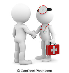 Doctor shaking hand with patient. Isolated