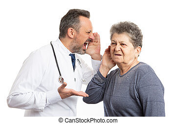 Doctor shouting in deaf patient ear