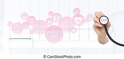 Doctor showing a stethoscope in the hands with medical pink icons on screen
