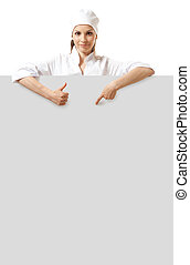doctor showing billboard sign with copy space