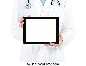Doctor Showing Blank Digital Tablet PC - Doctor in white...