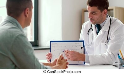 doctor showing cardiogram to patient at hospital - medicine,...