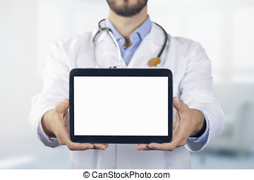 doctor showing digital tablet with blank white screen