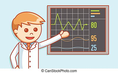 Doctor showing heart beat report