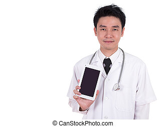 doctor showing tablet computer blank screen