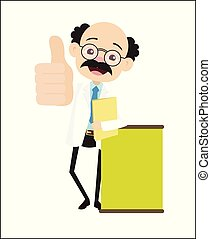 Doctor Showing Thumbs Up with Message Banner Vector