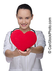 Doctor shows a red heart