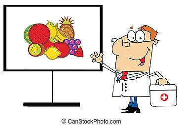 Friendly Male Doctor Standing By Fruit On A Board
