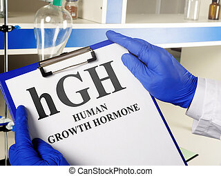 Doctor shows hGH Human growth hormone sign.