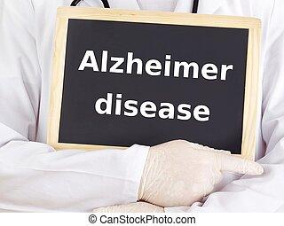 Doctor shows information: alzheimer disease
